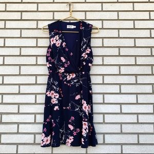 Eliza J Navy Floral Print Surplice Dress